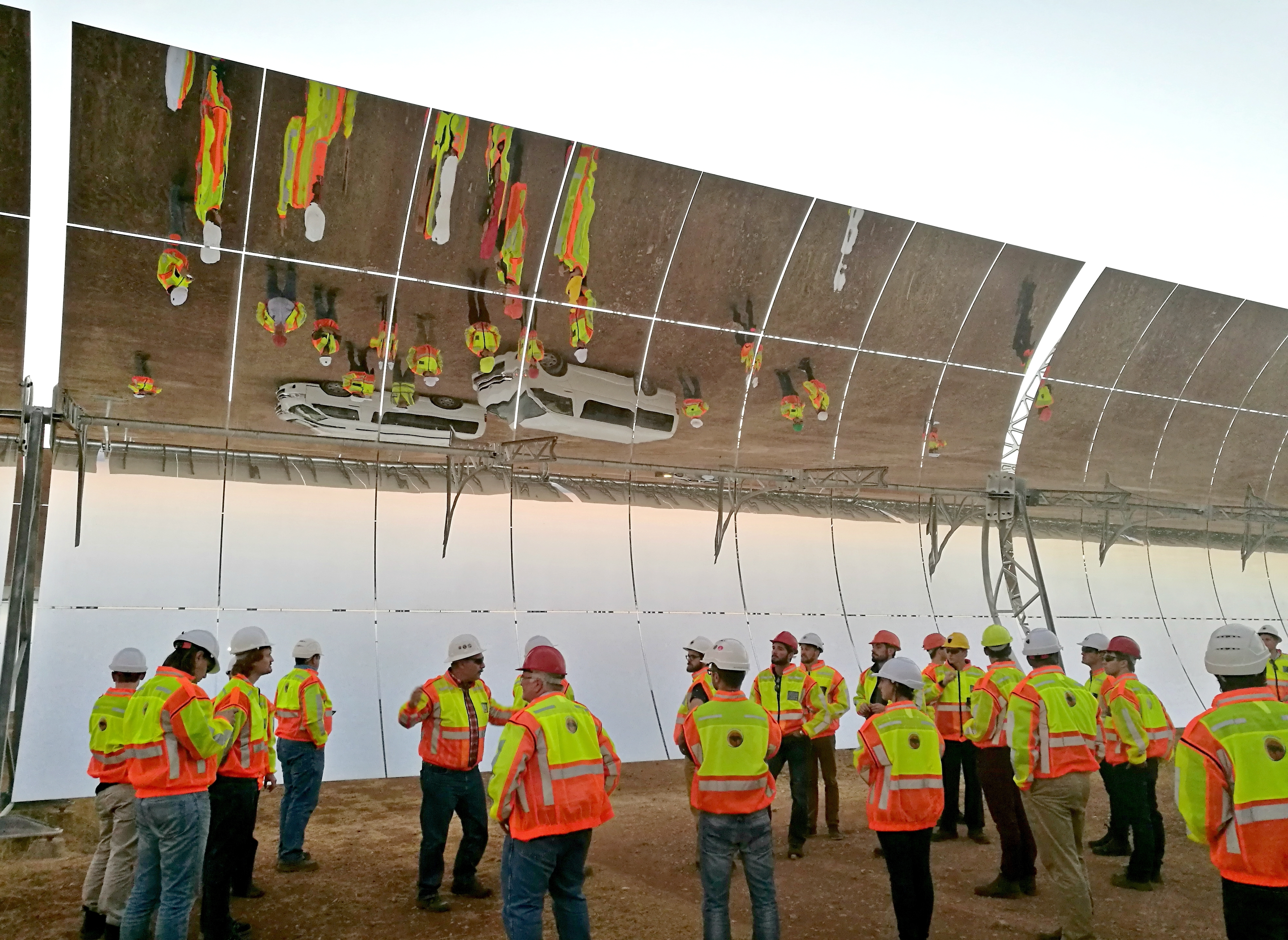 The technical tour team being shown around the Khatu Solar Park. Photo courtesy of Frank Duvenhage